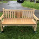 A Bespoke Oak bench of the families choosing, especially for their baby daughter with a Teak heart at it's centre.