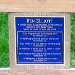 A very heavy Bronze plaque, again fitted into a Barfleur in loving memory of a mathematical genius – Ben Elliott